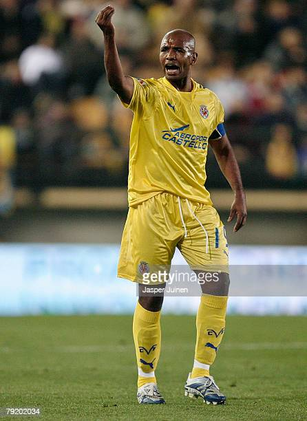 Marcos Senna da Silva of Villarreal reacts during the Copa del Rey match against Barcelona at the El Madrigal stadium on January 24 2008 in...