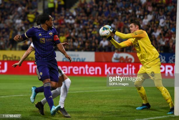 Marcos Tavares of Maribor and Oscar Linnér of AIK in action during the Second qualifying round of the UEFA Champions League between NK Maribor and...