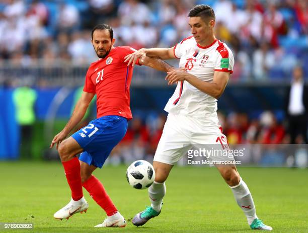 Marcos Urena of Costa Rica battles for possession with Nikola Milenkovic of Serbia during the 2018 FIFA World Cup Russia group E match between Costa...
