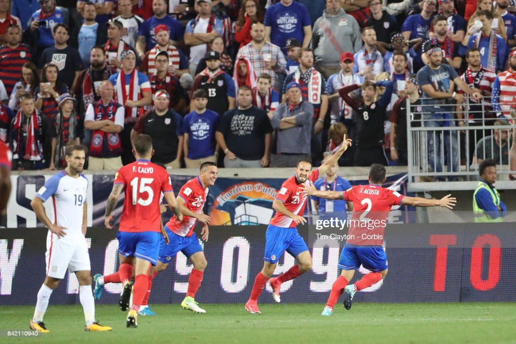 Marcos Urena #21 of Costa Rica celebrates his second goal during the United States Vs Costa Rica CONCACAF International World Cup qualifying match at Red Bull Arena, Harrison, New Jersey on September 01, 2017 in Harrison, New Jersey.