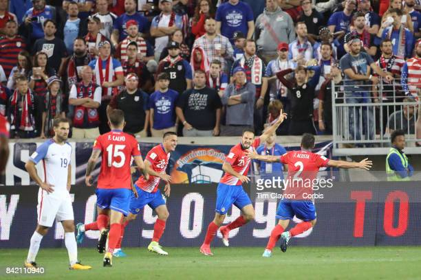 Marcos Urena of Costa Rica celebrates his second goal during the United States Vs Costa Rica CONCACAF International World Cup qualifying match at Red...