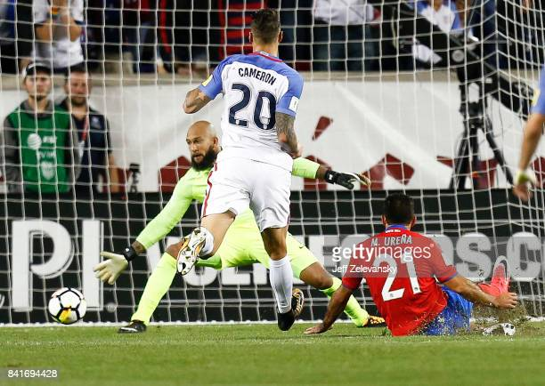 Marcos Urena of Costa Rica scores on Tim Howard of the United States during their match at Red Bull Arena on September 1 2017 in Harrison New Jersey