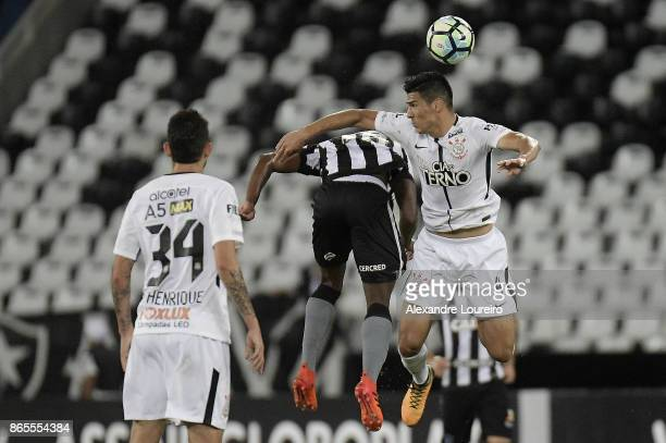 Marcos Vinicius of Botafogo battles for the ball with Balbuena of Corinthians during the match between Botafogo and Corinthians as part of...