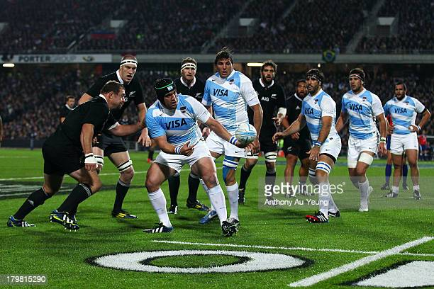 Marcot Ayerza of Argentina with an offload during the Rugby Championship between the New Zealand All Blacks and Argentina at Waikato Stadium on...