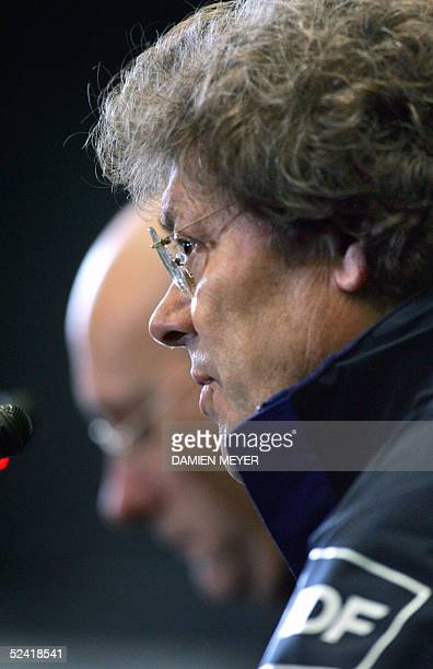 French head coach Jo Maso and head coach Bernard Laporte give a press conference for the team announcement at the Rugby Union National Center in...