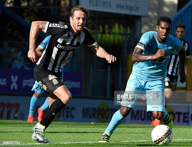 Marcq Damien midfielder of Charleroi and Renaoto Neto midfielder of KAA Gent pictured during Jupiler Pro League match between RCS Charleroi and KAA...