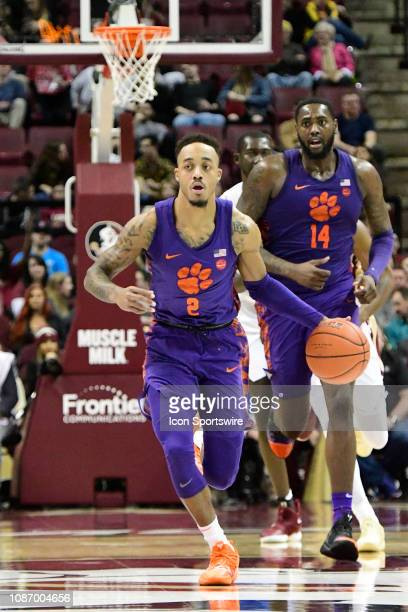 Marcquise Reed guard Clemson University Tigers dribbles the basketball downcourt against the Florida State University Seminoles during an Atlantic...