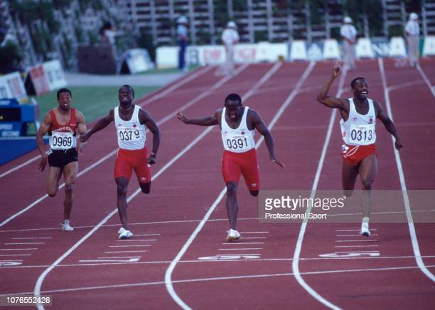 Marcus Adam wins ahead of John Regis and Ade Mafe to complete an England 1-2-3 during the men's 200 metres final of the Commonwealth Games at the...