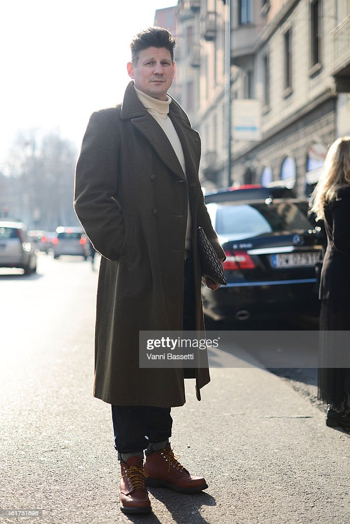 Marcus Agermann Ross poses wearing a vintage coat and Redwings shoes during day 2 of Milan Menswear Fashion Week Fall/Winter 2015/2016 on January 18, 2015 in Milan, Italy.