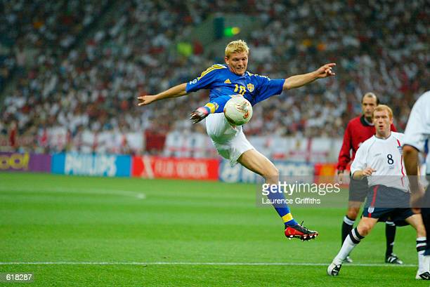 Marcus Allback of Sweden fires a leathal volley towards England's goal during the 2002 FIFA World Cup First Round Group F match between England v...