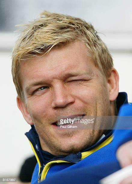Marcus Allback of Sweden watches from the dugout during a Sweden Training Session at Ullevi Stadium on March 30, 2004 in Gothemburg, Sweden.