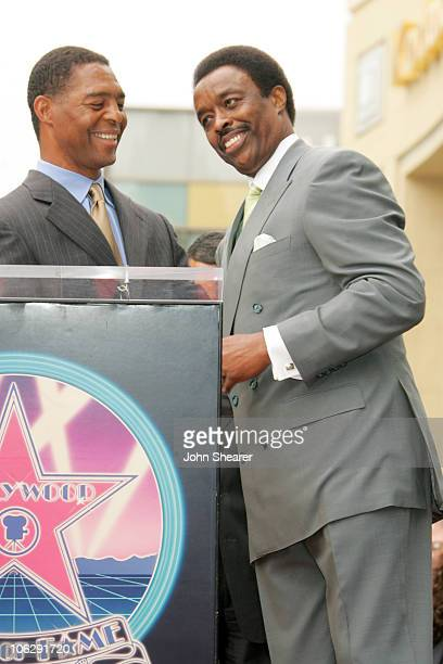 Marcus Allen and Jim Hill during Jim Hill Honored With a Star on the Hollywood Walk of Fame in Los Angeles California United States