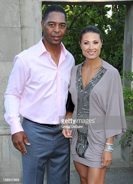 Marcus Allen and Lauren Hunter arrive at the HollyRod Foundation's 12th Annual Design Care at Ron Burkle's Green Acres Estate on July 24 2010 in...