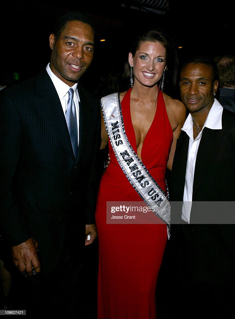 Marcus Allen, Lisa Marie Forbes, Miss Kansas, USA 2004 and Tommy Davidson