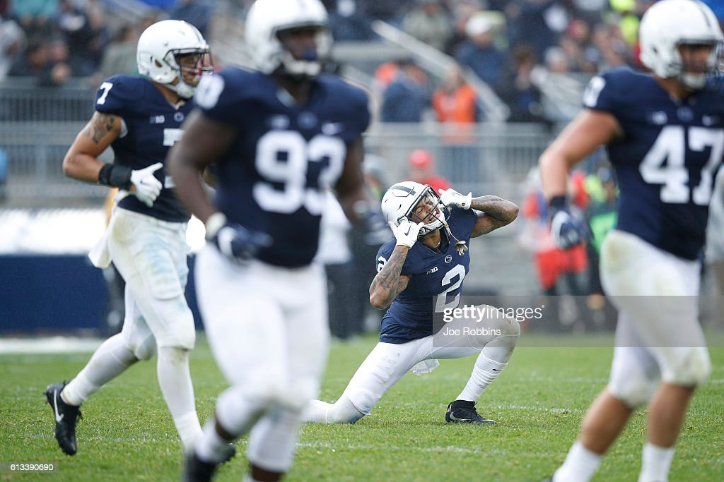 Marcus Allen #2 of the Penn State Nittany Lions celebrates after making a fourth down stop against the Maryland Terrapins in the second half at Beaver Stadium on October 8, 2016 in State College, Pennsylvania. Penn State defeated Maryland 38-14.