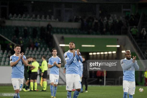 Marcus Antonsson, Adi Nalic, Isaac Kiese Thelinand and Fouad Bachirou of Malmö after the UEFA Europa League, last 32, first leg football match VfL...
