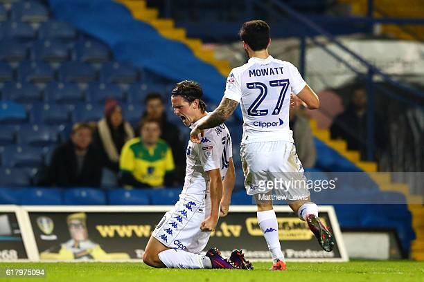 Marcus Antonsson of Leeds United celebrates scoring his sides first goal with his team mate Alex Mowatt of Leeds United during the EFL Cup fourth...