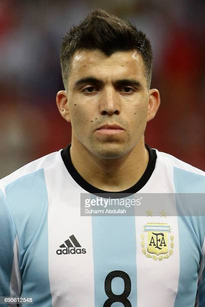Marcus Arcuna of Argentina lines up on the pitch during the International Test match between Argentina and Singapore at National Stadium on June 13...