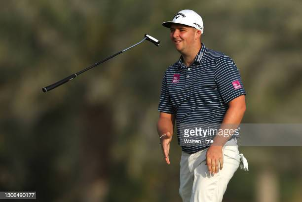 Marcus Armitage of England reacts to a missed putt on the 3rd green during Day One of the Commercial Bank Qatar Masters at Education City Golf Club...