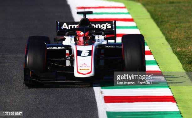 Marcus Armstrong of New Zealand and ART Grand Prix drives on track during qualifying for the Formula 2 Championship at Mugello Circuit on September...
