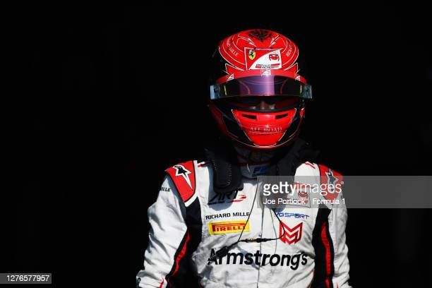 Marcus Armstrong of New Zealand and ART Grand Prix following practice ahead of the Formula 2 Championship at Sochi Autodrom on September 25, 2020 in...