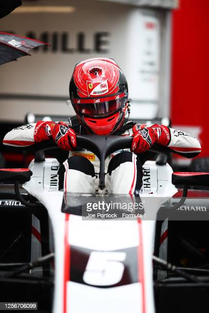 Marcus Armstrong of New Zealand and ART Grand Prix prepares for Qualifying for the Formula 2 championship at Hungaroring on July 17, 2020 in...