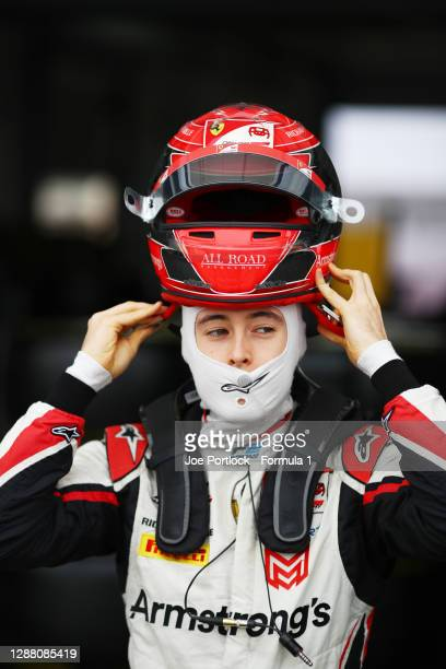 Marcus Armstrong of New Zealand and ART Grand Prix prepares for practice ahead of Round 11:Sakhir of the Formula 2 Championship at Bahrain...