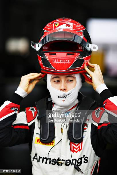 Marcus Armstrong of New Zealand and ART Grand Prix prepares to drive during qualifying ahead of Round 11:Sakhir of the Formula 2 Championship at...