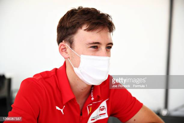 Marcus Armstrong of New Zealand and ART Grand Prix talks to the media in the Paddock during previews ahead of the Formula 2 Championship at Circuit...