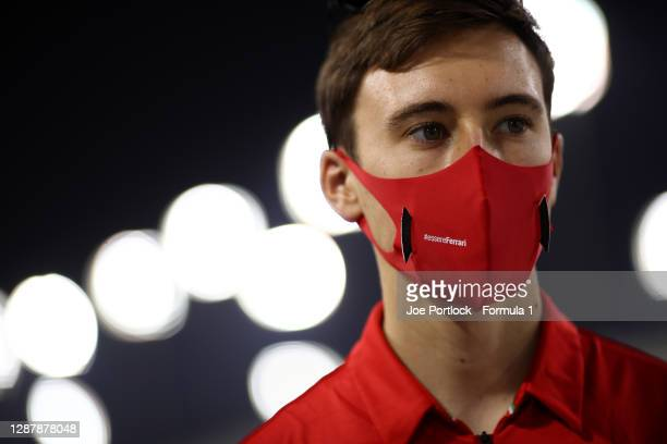 Marcus Armstrong of New Zealand and ART Grand Prix talks to the media in the Paddock during previews ahead of Round 11:Sakhir of the Formula 2...