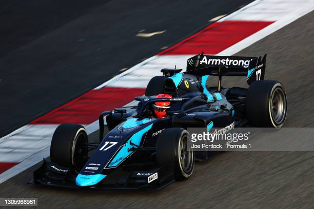 Marcus Armstrong of New Zealand and DAMS drives during day one of Formula 2 Testing at Bahrain International Circuit on March 08, 2021 in Bahrain,...