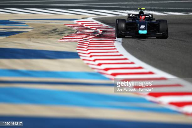 Marcus Armstrong of New Zealand and DAMS drives during Day Three of F2 testing at Bahrain International Circuit on December 10, 2020 in Bahrain,...