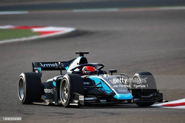 Marcus Armstrong of New Zealand and DAMS drives during day three of Formula 2 Testing at Bahrain International Circuit on March 10, 2021 in Bahrain,...