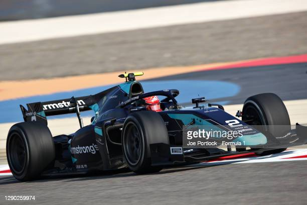 Marcus Armstrong of New Zealand and DAMS drives during Day Two of Formula 2 Testing at Bahrain International Circuit on December 09, 2020 in Bahrain,...