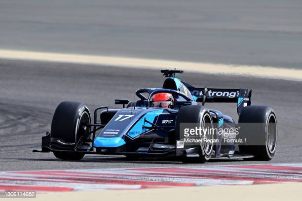 Marcus Armstrong of New Zealand and DAMS drives during day two of Formula 2 Testing at Bahrain International Circuit on March 09, 2021 in Bahrain,...