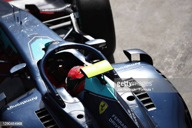 Marcus Armstrong of New Zealand and DAMS drives in the Pitlane during Day Three of F2 testing at Bahrain International Circuit on December 10, 2020...