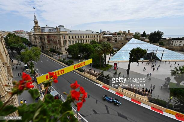 Marcus Armstrong of New Zealand and DAMS drives on track during practice ahead of Round 3:Baku of the Formula 2 Championship at Baku City Circuit on...