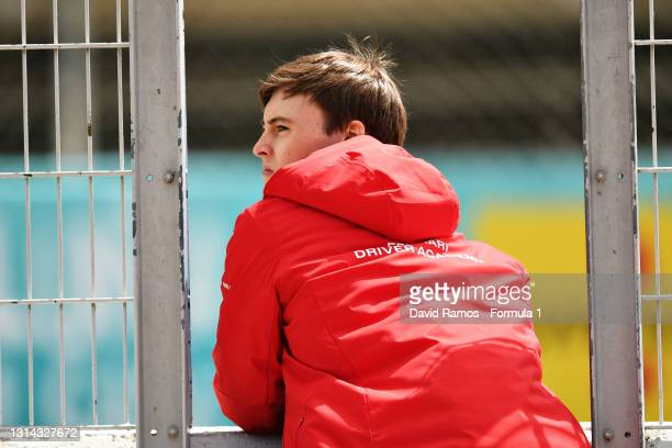 Marcus Armstrong of New Zealand and DAMS looks on during Day Three of Formula 2 Testing at Circuit de Barcelona-Catalunya on April 25, 2021 in...