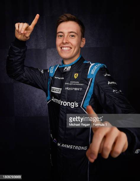 Marcus Armstrong of New Zealand and DAMS poses for a portrait at Bahrain International Circuit on March 07, 2021 in Bahrain, Bahrain.