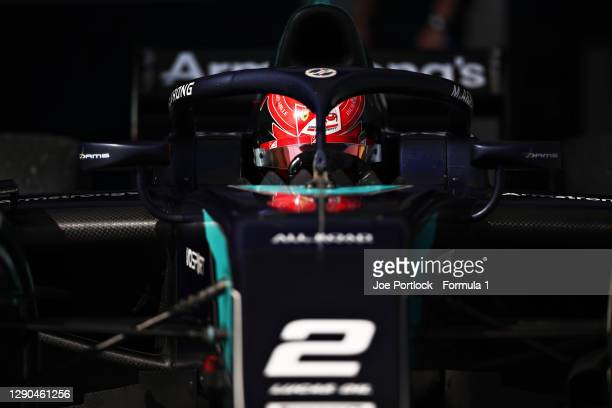 Marcus Armstrong of New Zealand and DAMS prepares to drive during Day Three of F2 testing at Bahrain International Circuit on December 10, 2020 in...