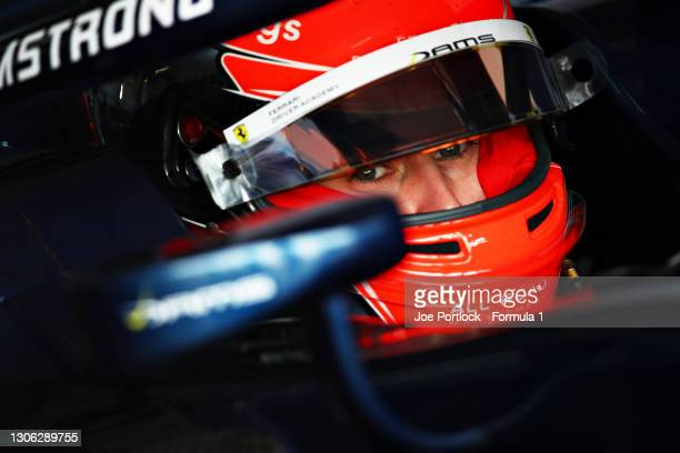 Marcus Armstrong of New Zealand and DAMS prepares to drive during day three of Formula 2 Testing at Bahrain International Circuit on March 10, 2021...