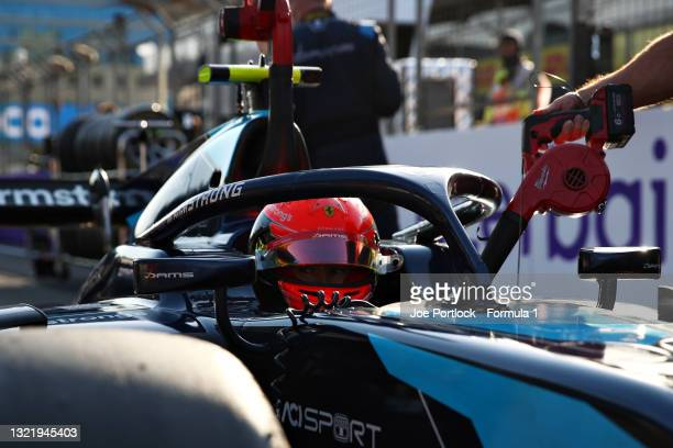 Marcus Armstrong of New Zealand and DAMS prepares to drive prior to sprint race 2 of Round 3:Baku of the Formula 2 Championship at Baku City Circuit...