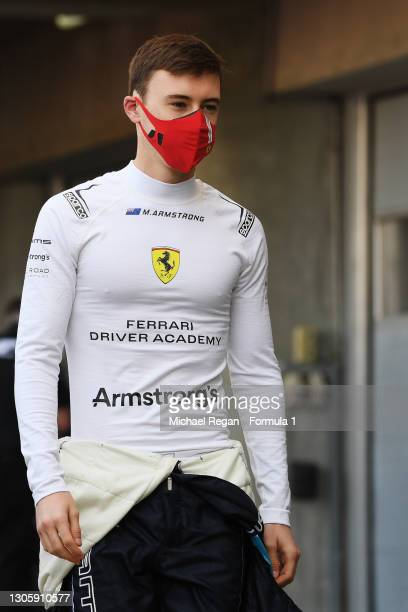 Marcus Armstrong of New Zealand and DAMS walks in the Pitlane during day one of Formula 2 Testing at Bahrain International Circuit on March 08, 2021...