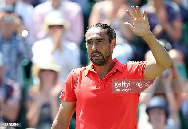 Marcus Baghdatis of Cyprus celebrates victory over Alexander Zverev of Germany on day four of the Aegon Open Nottingham at Nottingham Tennis Centre...