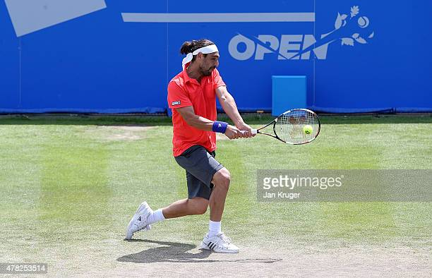 Marcus Baghdatis of Cyprus in action against Alexander Zverev of Germany on day four of the Aegon Open Nottingham at Nottingham Tennis Centre on June...