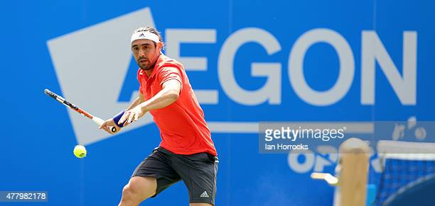 Marcus Baghdatis of Cyprus in action against Victor Estrella Burgos of Dominican Republic of during day one of the ATP Aegon Open at Nottingham...