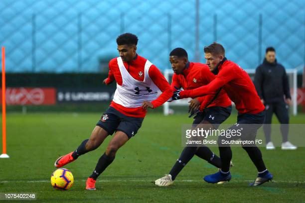 Marcus Barnes Kayne Ramsay and Steven Davis during a Southampton FC training session at Staplewood Training Ground on December 28 2018 in Southampton...