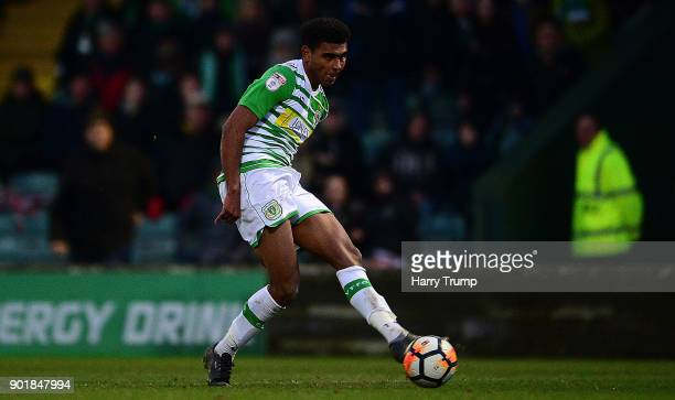 Marcus Barnes of Yeovil Town scores his sides first goal during The Emirates FA Cup Third Round match between Yeovil Town and Bradford City at Huish...