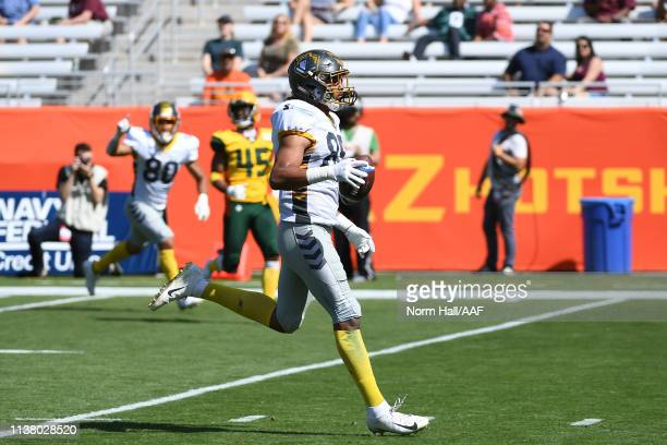 Marcus Baugh of the San Diego Fleet scores a touchdown against the Arizona Hotshots during the first half of the Alliance of American Football game...