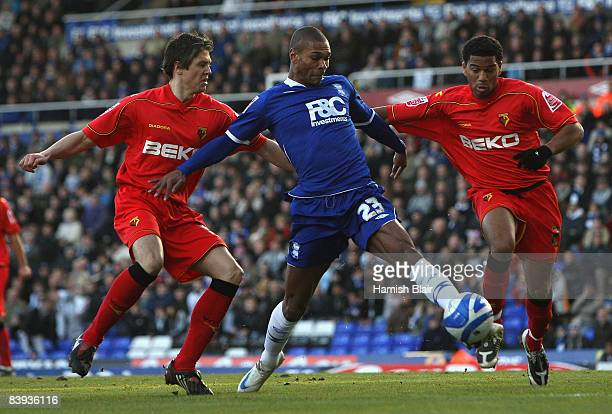 Marcus Bent of Birmingam contests with Leigh Bromby and Adrian Mariappa of Watford during the Coca Cola Championship match between Birmingham City...